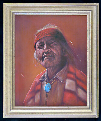 Vtg Native American Portrait Oil On Canvas Apache Chief Signed Tunstall Indian