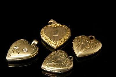 4 Old Collection Of Gold Filled Engraved Heart Lockets A97283