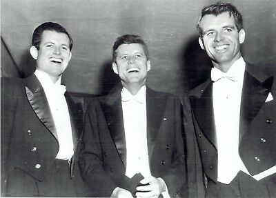 1960 Wire Photo from 1958 John Kennedy with brother Robert Kennedy & Ted Kennedy
