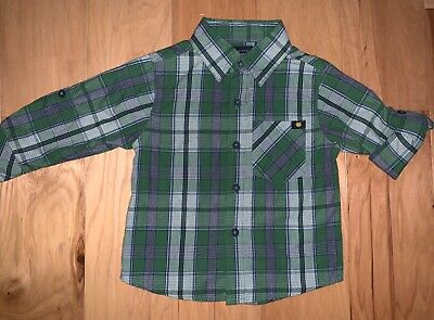 Lucky Brand Baby Boys Green Plaid Button Down Size 12M Excellent Cond Ld6