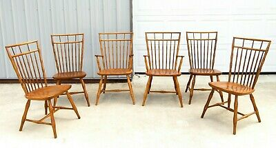 RARE Vtg ETHAN ALLEN FAUX BAMBOO BIRDCAGE DINING CHAIRS Hollywood Regency MCM