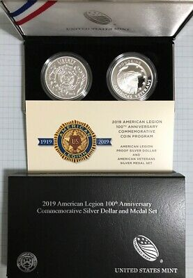 2019 American Legion 100th Anniversary Proof Silver Dollar and Veteran Medal Set