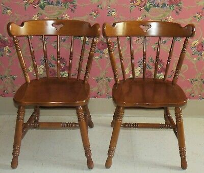 2 Tell City Mate Chairs 8018 Hard Rock Maple with Original Andover Finish