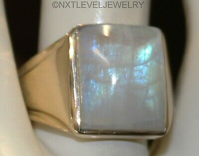 Antique 1920's Art Deco 10ct Natural Rainbow Moonstone 10k Solid Gold Men's Ring