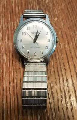Vintage Westclox Wind Up Watch Japan Movement Twiston Band Works! Cracks on Face