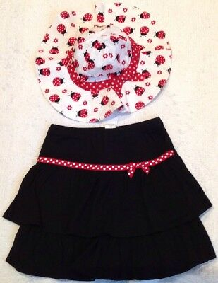NWT GYMBOREE 2pc SET Black Red White Polka Dot LADYBUG SKORT/SUN HAT 7 $42