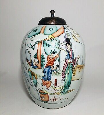 Antique Chinese Porcelain Ginger Jar Famille Rose Large Vase