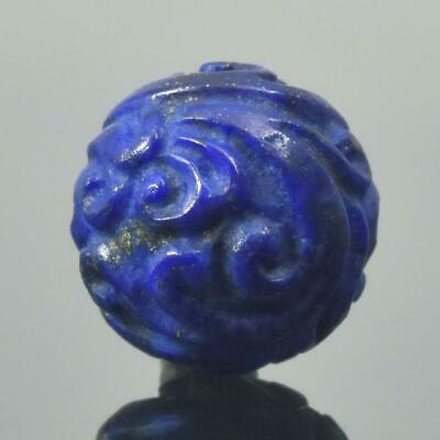Carved Natural Blue Lapis Lazuli Round 12.50 mm Bead Carving 2.67 g Handmade