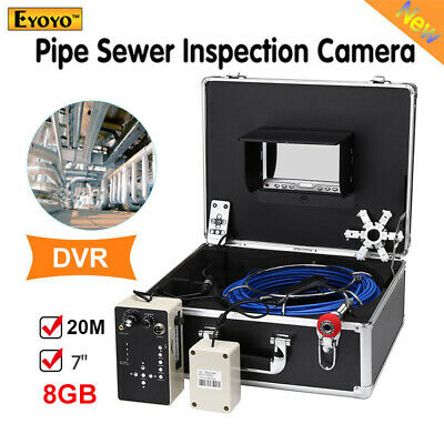 Eyoyo 7 Inch 20M DVR Pipe Sewer Inspection Video Camera Industrial IR Remote LED