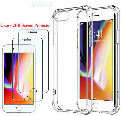 Tempered Glass And Phone Case For iPhone 6 7 8 Plus Cover Luxury TPU Hard Cases