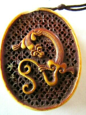 """Antique Finely Detailed Carved Chinese Bovine Pendant Intricate Monkey- L-2 1/8"""""""