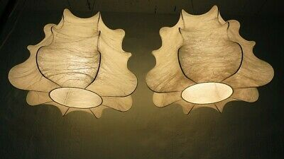 Rare Stunning Pair of '60's Vintage Cocoon Pendant Shades  (Giacomo Castiglioni)