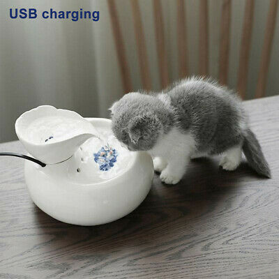 Pet Cat Dog Drinking Fountain Automatic Circulating Water Drinker Porcelain