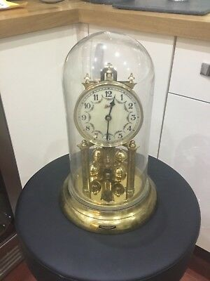 Large Antique Schatz Anniversary Clock Pendulum and Glass Dome 400
