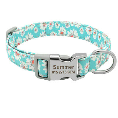 Personalised Fashion Floral Dog Collars Pet Cat Name ID Collar Tag Engraved Free