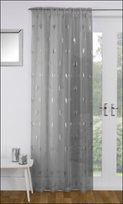 Grey Silver Metallic Trees Print Birch Voile Net Curtain Slot Top Single Panel