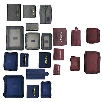 7pcs Packing Cube Travel Pouches Luggage Organiser Clothes Storage Bag Kit
