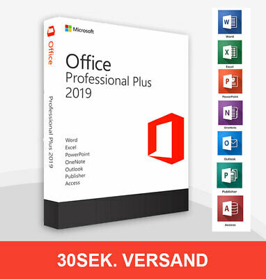 Microsoft Office 2019 Professional Plus Vollversion Lizenz Deutsch 64/32 BIT