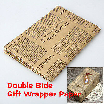 Wrapping Paper Wrap Gift Wrap Double Sided Christmas Kraft Paper Vintag KY