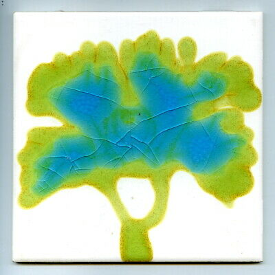 """Handpainted 6""""sq glaze trial tile by Kenneth Clark Ceramics, 1974"""