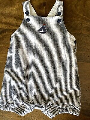 Janie And Jack Boys Lined Sailboat Romper 0-3 Months