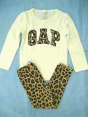 NWT baby GAP 2-Pc Outfit Set~L/S Top Shirt Tee~LEGGING Pant~Girl Sz 4T 4~LEOPARD