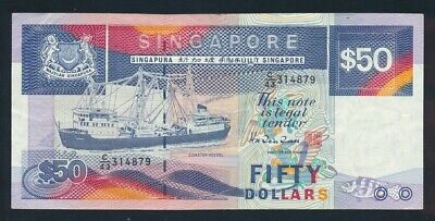 "Singapore: 1987 $50 Ship Series Mid Blue ""SEGMENTED SECURITY THREAD"" Pick 22b VF"