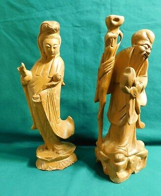 2..Antique Qwan Yin Statue Figurine Chinese Immortal Goddess Carved Boxwood Vtg