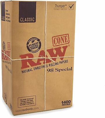 RAW Classic Pre-Rolled Cones 98 Special, Box of 1400 - Licensed RAW Reseller