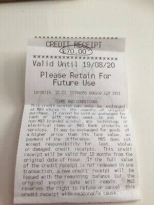 Marks and Spencer Credit/Receipt voucher £70 valid for 1 year