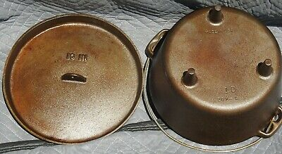 Antique Cast Iron Dutch Oven 3 Leg Pot With Top Number 10 20H-1 Made In Usa Mint