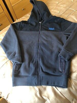 Boys Zipped Navy Lonsdale Hoodie - Age 7-8 Years