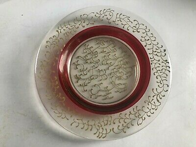 """Cranberry Gold Glass Plate 6"""""""
