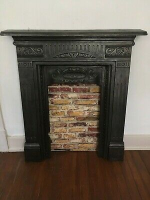 English Victorian Antique Cast Iron Fireplace Mantle Surround British Mantel