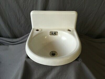 "Antique 15"" Cast Iron White Porcelain High Back Bath Wall Sink Standard 158-19E"