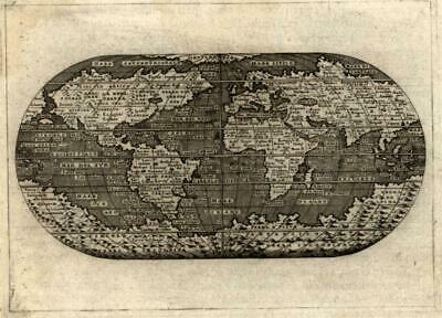 World w/ huge Southern Continent Unknown Incognita Anian 1576 Porcacchi map