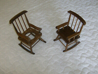 Scale model wooden Victorian style, spindle back rocking chairs, doll accessory?
