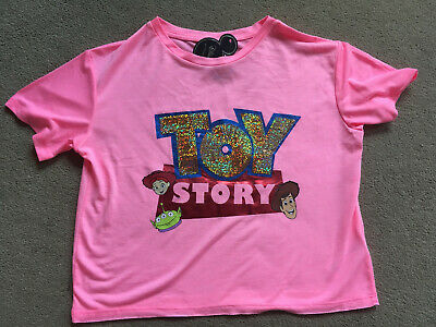 BNWT Primark Bright Pink Toy Story Sequined Cropped T-Shirt Top 12-13 Years