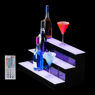 "24"" 3 Step Tier LED Lighted Shelf Illuminated Liquor Bottle Bar Display Stand"