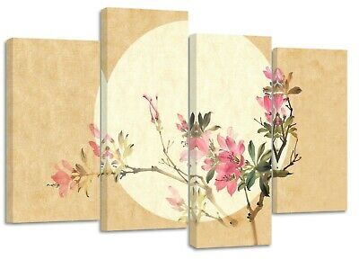 japanese asian art with sun and flower canvas split prints on wooden bars