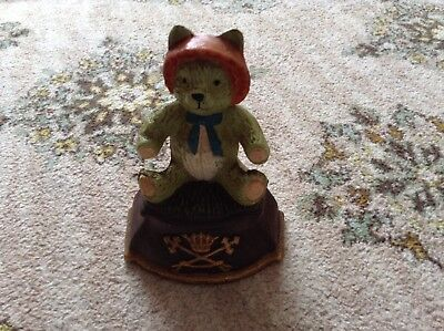 Vintage Cast iron Teddy Bear with character door stop painted cast iron