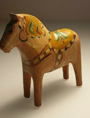 Antique Swedish Dala Horse. Folk Art Carved Sweden Hand Painted.