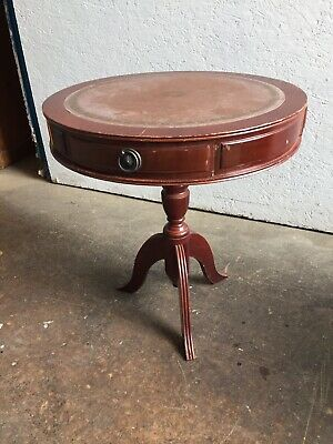 REGENCY STYLE MAHOGANY & PINK LEATHER TOPPED SIDE TABLE with Drawers.Used