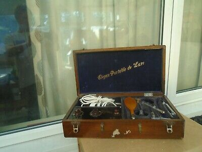 Interesting antique ultra violet rays electric massage machine with wooden case