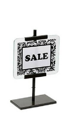 "2 Sign Holders Fits 5 1/"" x 7"" Signs Bronze Retail Store Sale Metal Glass"