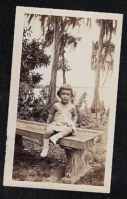 Antique Vintage Photograph Adorable Little Girl Sitting on Bench in Park