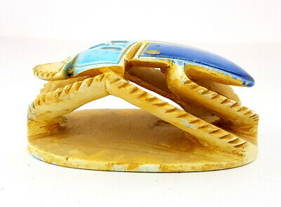 Colorful Scarab Beetle Figurine Amulet Egyptian Antiques W/T Hieroglyphic