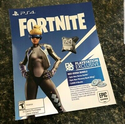PS4 Exclusive Fortnite: Epic Neo Versa Outfit + 500 V-Bucks (USA) FAST DELIVERY