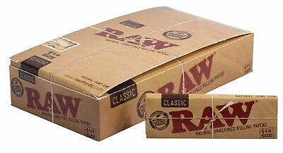 RAW Classic 1 1/4 Rolling Papers - Box 24 PACKS - Gum Natural Unrefined