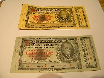 A Pair Of 1936 Democratic Convention Guest Tickets - Philadelphia PA.